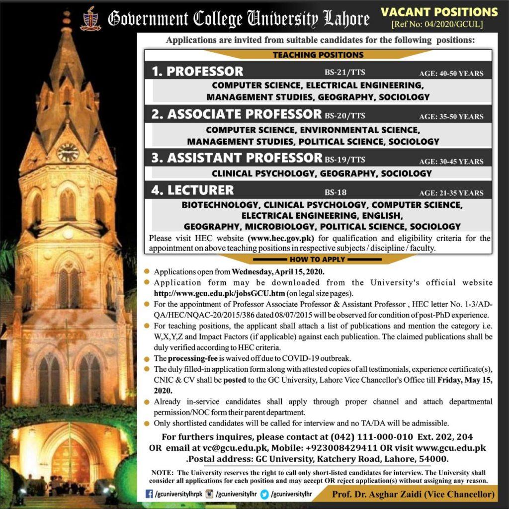 Advertisement GC University Lahore Teaching Jobs 2020