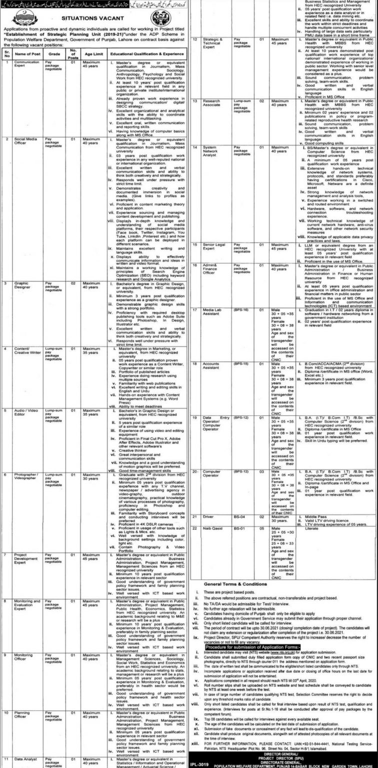 Population Welfare Department Punjab Establishment of Strategic Planning Unit (2019-2021) (Screening Test for Various Posts)