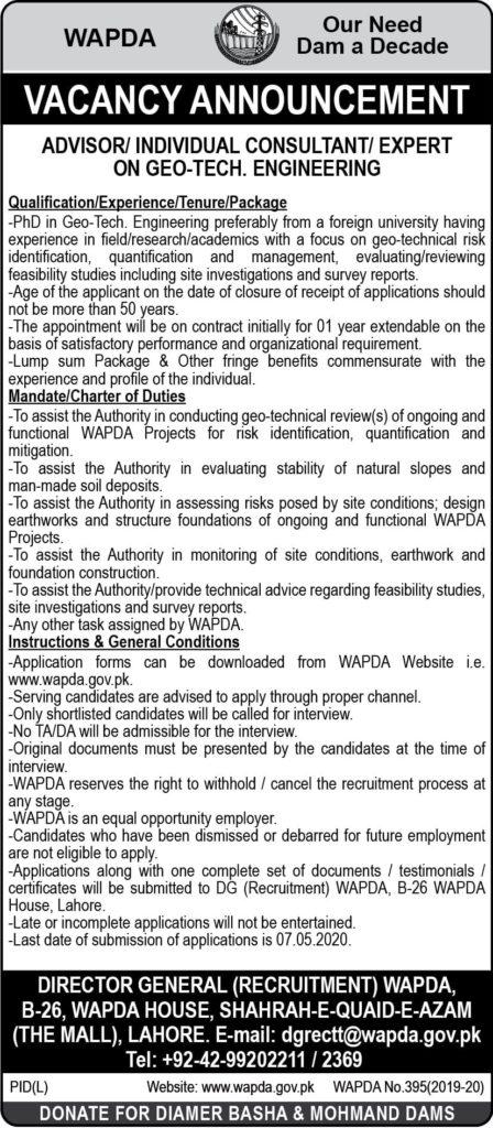 Water & Power Development Authority WAPDA Jobs April 2020