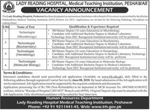 Lady Reading Hospital Peshawar Jobs 2020 Advertisement