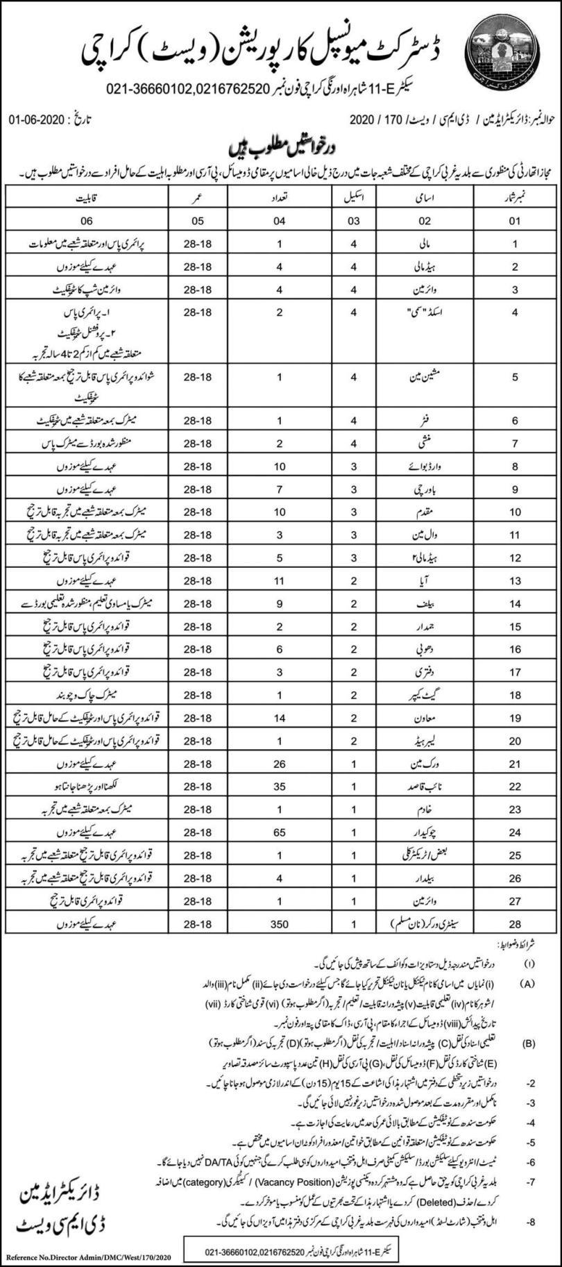 District Municipal Corporation DMC West Karachi Jobs Advertisement