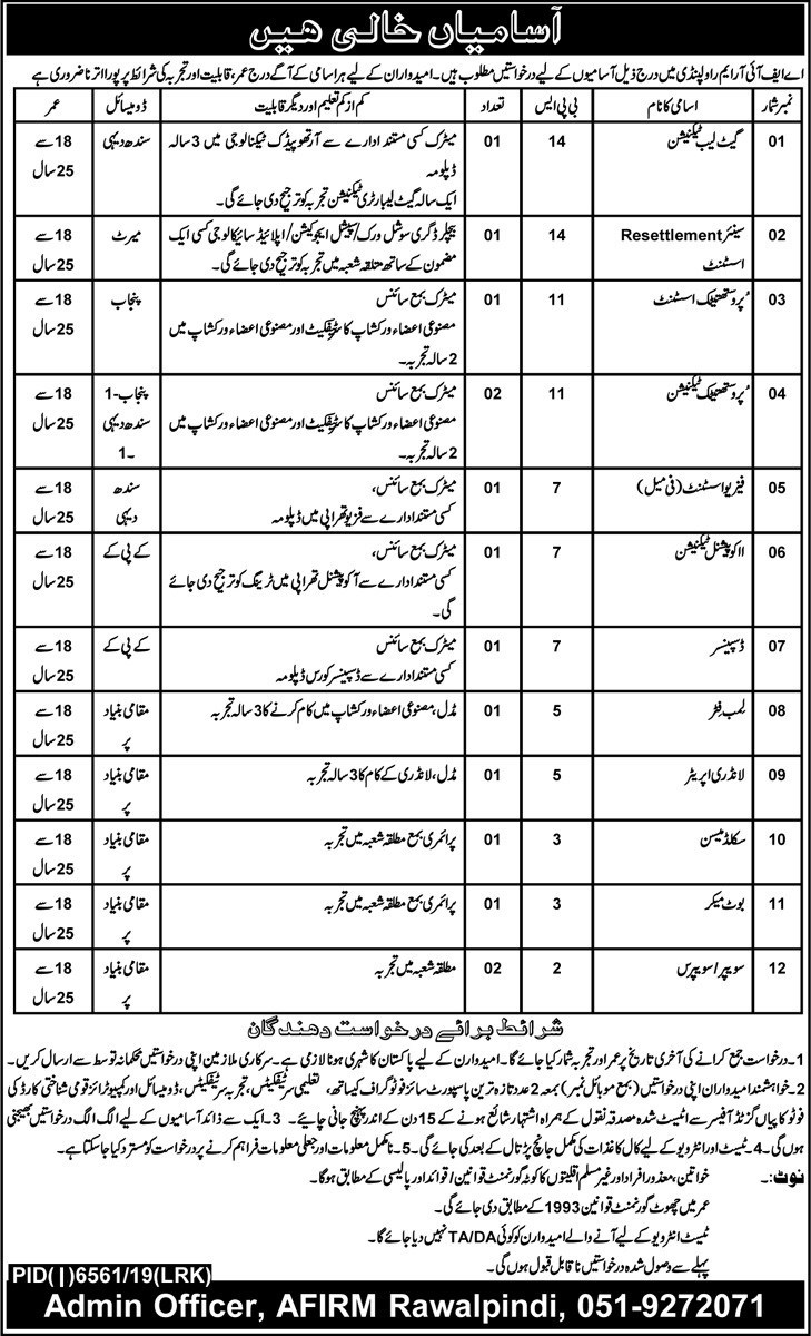 AFIRM Rawalpindi Jobs 2020 Advertisement