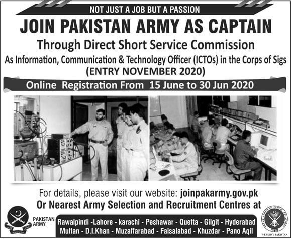 Join Pak Army as Captain ICTOs 2020 Advertisement