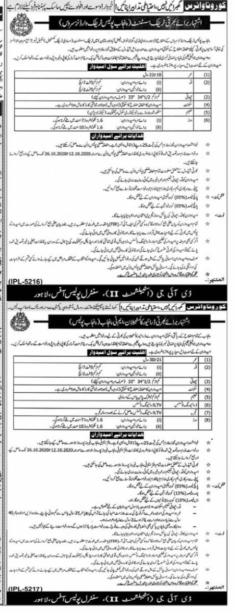 Punjab Police Jobs 2020 for Constables Drivers & Traffic Assistant Constables officile Advertisement