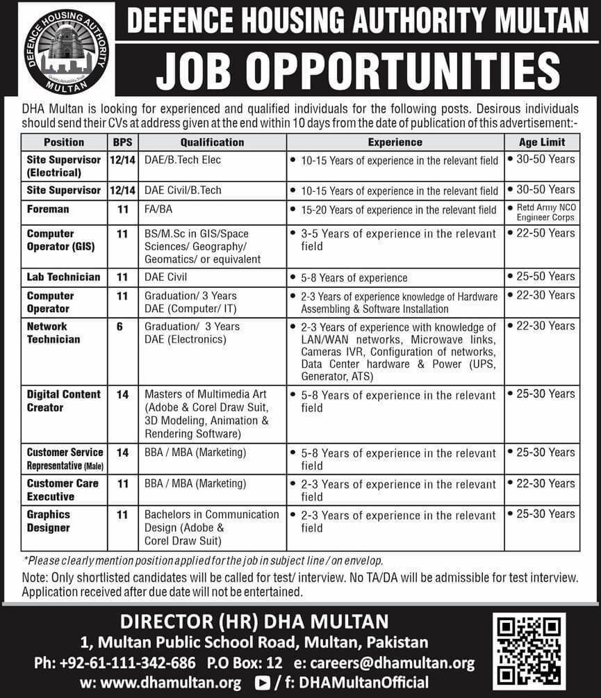 Defence Housing Authority DHA Multan Jobs Advertisement