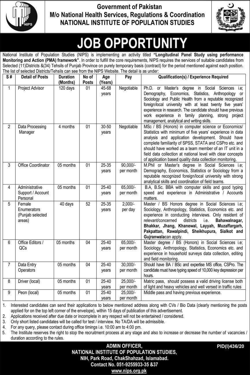 National Institute of Population Studies NIPS Islamabad Jobs Advertisement