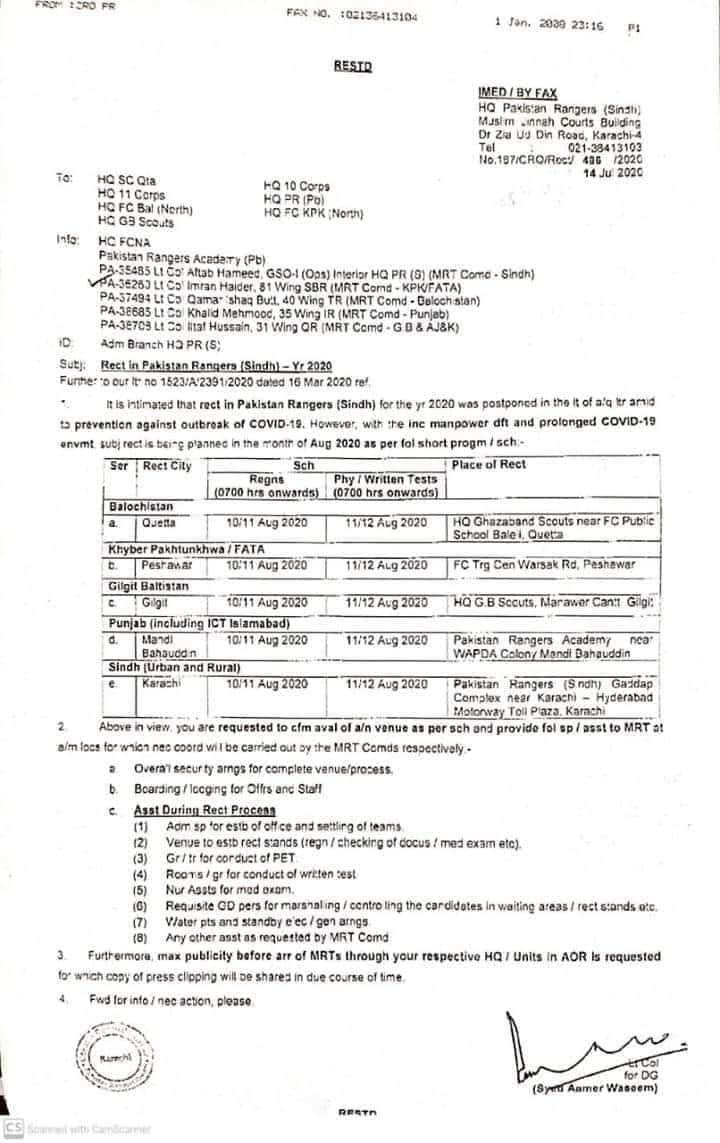 Pakistan Rangers Jobs Notification July 20202