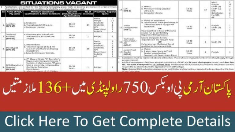 Pak Army PO Box750 Rawalpindi Jobs 2020