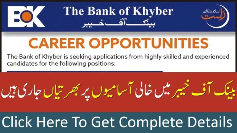 Bank of Khyber Jobs 2021 BOK Vacancies