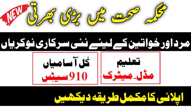 910+Vacancies Primary and Secondary Healthcare Jobs 2021 Punjab Jobs Health Department