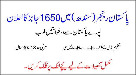 Rangers Sindh Jobs