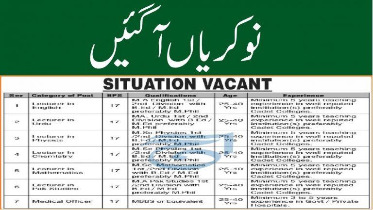 Cadet College South Waziristan KPK Jobs 2021