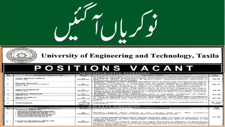 UET Taxila Jobs 2021