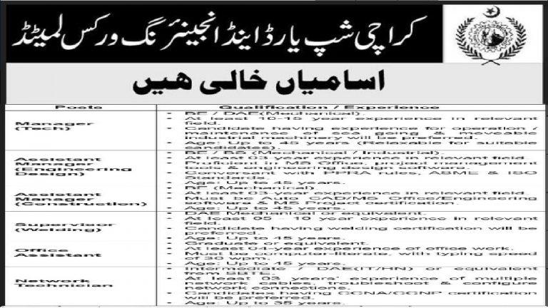 Karachi Shipyard Jobs 2021 Advertisement