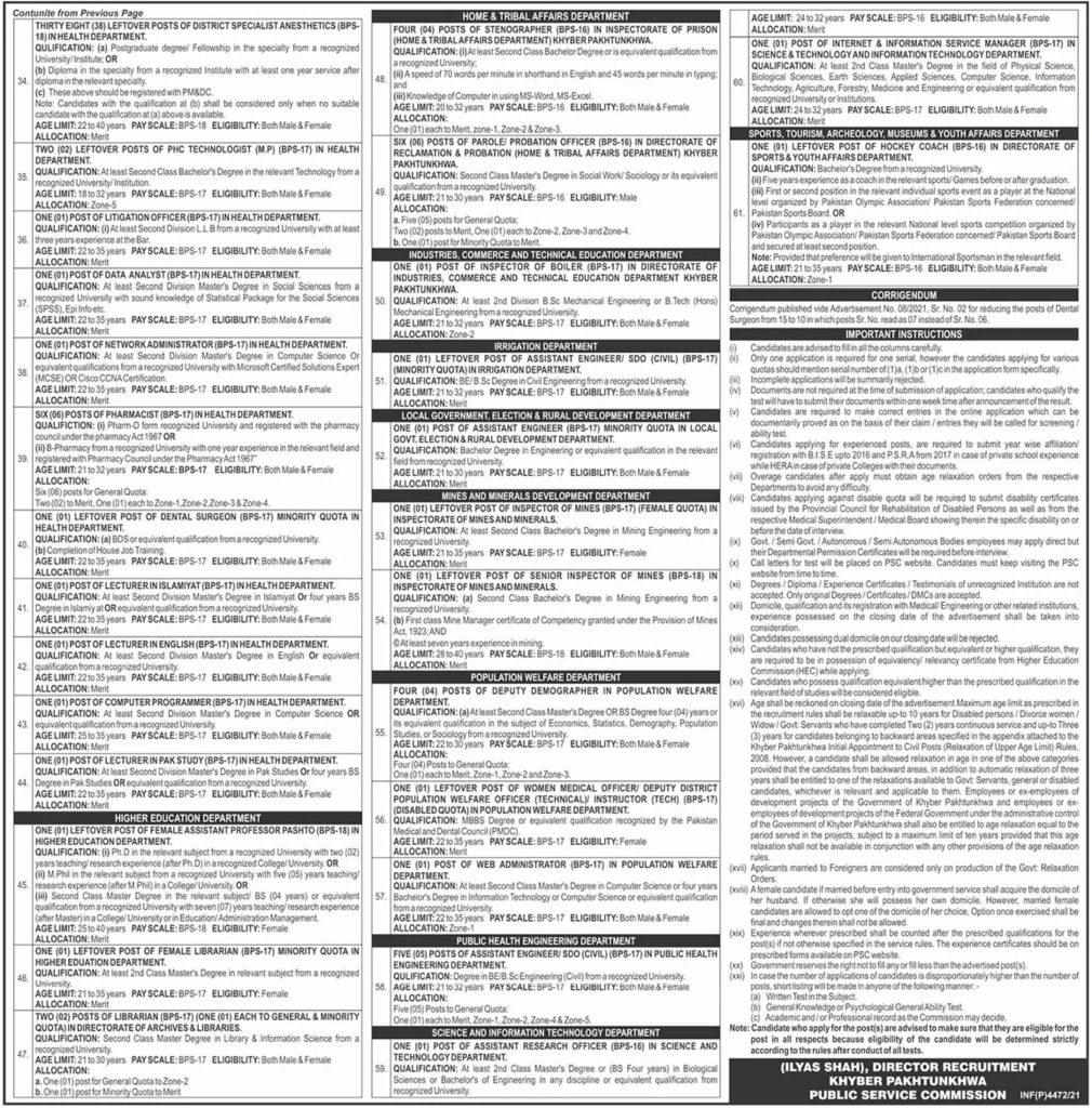 KPPSC Advertisement No 09 Jobs 2021